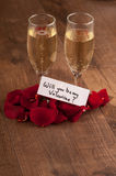 Champagne Flute And Gift To Valentines Day Royalty Free Stock Photos