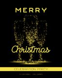 Champagne flute glass shape from golden bubbles. Merry Christmas party poster with champagne flute glass shape from golden bubbles on black background. Vector Royalty Free Stock Photography