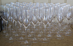 Champagne Flute Glasses prepared for wine tasting Stock Photo