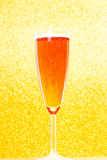 Champagne Flute. With golden background Stock Photography