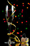Champagne flute with reflection stock image