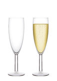 Champagne flutes. Two narrow glasses, empty and filled. Vector illustration, easy to isolate Royalty Free Stock Images