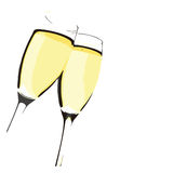 Champagne Flutes. Vector Illustration On White JPEG and Vector Stock Photo