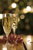 Champagne flutes. At the light of a christmas tree (selective focus stock images