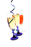 Champagne flutes with blue ribbon closeup Royalty Free Stock Images