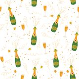 Champagne flutes and bottles vector seamless pattern background. Hand drawn illustration of champagne explosion and champagne stock illustration