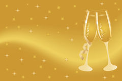 Champagne flutes for celebration. Champagne flutes for New Year or anniversary celebration Stock Photography