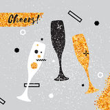 Champagne flutes. Cheerful holiday. Alcoholic beverages. Party celebration. Champagne flutes with golden glitter elements on pink background. Cheers - Clinking Royalty Free Stock Images