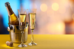 Champagne flutes and chilled bottle. Stock Images