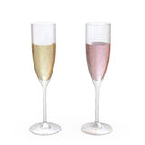 Champagne Flutes Classic Glasses set with liquid, clipping path Stock Photo