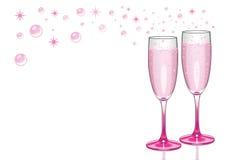 Champagne Flutes cor-de-rosa com bolhas Fotos de Stock Royalty Free