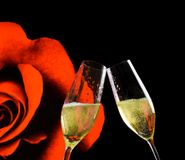 Champagne flutes with golden bubbles on rose flowers and black background Royalty Free Stock Photos