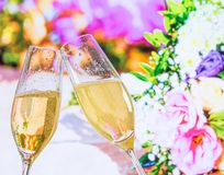 Champagne flutes with golden bubbles on wedding flowers background. Champagne flutes with golden bubbles make cheers on wedding flowers background Stock Photos