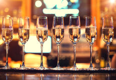 Champagne flutes in holiday Royalty Free Stock Photography