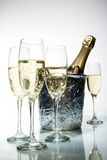 Champagne flutes and ice bucket Royalty Free Stock Image