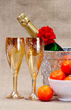 Champagne flutes in ice bucket, Royalty Free Stock Photo