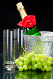 Champagne flutes in ice bucket, Stock Photo
