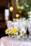 Champagne Flutes On Serving Table At Reception Stock Photography