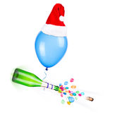 Champagne with flying balloons Stock Photo