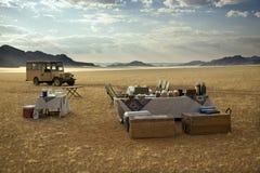 Champagne-Frühstück - Namibische Wüste - Namibia Stockfotografie