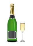 Champagne. Frasco e vidro. Foto de Stock Royalty Free