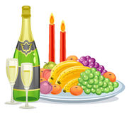 Champagne and fruits Royalty Free Stock Images