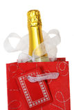 Champagne gift bag Royalty Free Stock Photo
