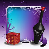 Champagne and gift box Stock Images
