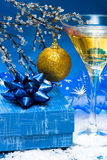 Champagne and gift box Royalty Free Stock Photos