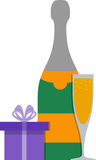 Champagne and gift boxes. Flat image of champagne and gift box. EPS 10 Royalty Free Stock Images