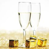 Champagne and gift Royalty Free Stock Photography