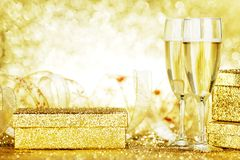 Champagne and gift Royalty Free Stock Images