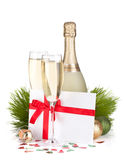 Champagne and gift letter Stock Photography