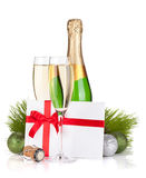 Champagne and gift letter Royalty Free Stock Image