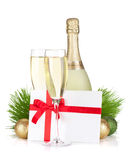 Champagne and gift letter Stock Photos