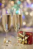 Champagne gift red gold new year Royalty Free Stock Photo