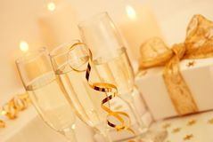 Champagne With Gifts Stock Photo