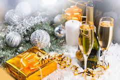 Champagne, Gifts and Christmas Decorations Royalty Free Stock Photography