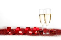 Champagne and gifts Stock Images