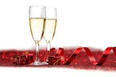 Champagne and gifts Royalty Free Stock Photography