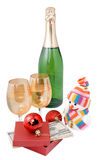 Champagne and gifts isolated Royalty Free Stock Images