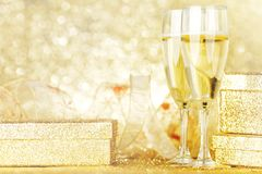 Champagne and gifts royalty free stock photos