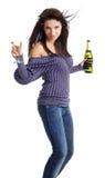 champagne girl glass Στοκ Φωτογραφίες