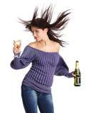 champagne girl glass Στοκ Εικόνες