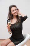 Champagne girl. royalty free stock image
