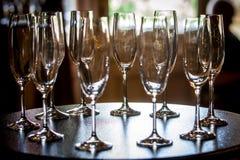 Champagne-Gläser auf Tabelle Lizenzfreies Stockfoto