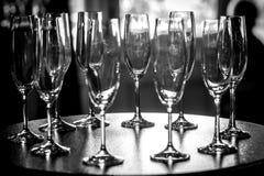 Champagne-Gläser auf Tabelle Stockbild