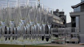 Champagne-Gläser in einer Reihe stock video
