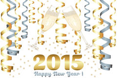 Champagne-Gläser im neuen Jahr Stockfoto