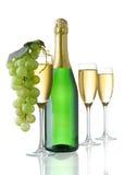 Champagne-Gläser und Trauben Lizenzfreies Stockbild